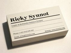 Ricky Synnot Studio Cards 09/10 - Business Cards - Creattica #card