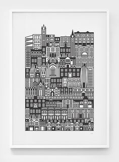 Image of British Architecture #ink #city #print #black #illustration #linear #poster #houses