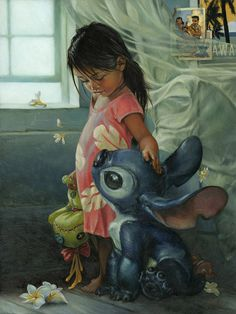 Disney Lilo and Stitch – Ohana Means Family – Gallery Wrapped Canvas by Heather Theurer #lilo #illustration #disney #and #stitch
