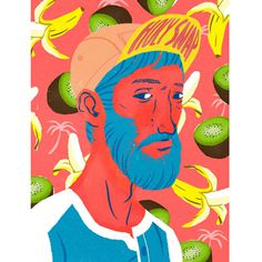 Jérôme Mireault / Colagene.com #fruit #hipster #banana #orange #beard #cap #kiwi #palm #illustration