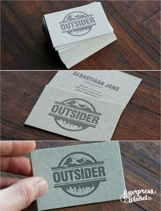 Letterpress business cards on heavy gray Pulp-board by Letterpress Winkel The Netherlands