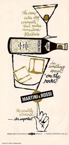 Martini & Rossi vintage ad #vintage #advertising #pen #hand lettering #60s