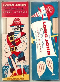 All sizes | 1956 Milko Long John LJS Pirate Drink Straws | Flickr - Photo Sharing! #illustration #vintage #logo #retro