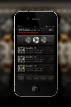 Music App - Mobile Interface - Creattica #music #iphone #metal #leather