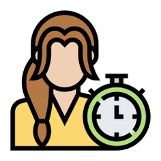 See more icon inspiration related to girl, woman, clock, overtime, time and date, young, user, avatar, profile and people on Flaticon.