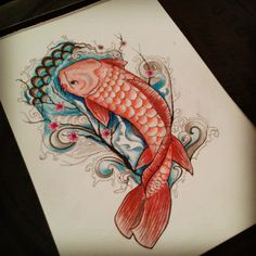 Koi tattoo design #koi #tattoo #tattoodesign #design #fish #red #japanese