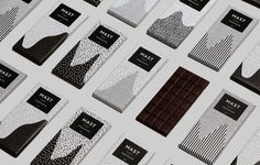 Packaging, chocolate, black and white, mono