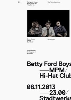 The Future Sound — Betty Ford Boys / Poster #poster #simple #layout #clean #austria #straight