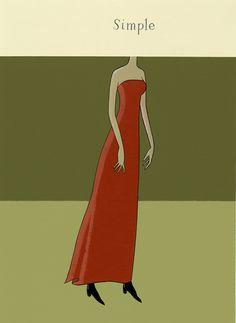 Simple, Nick Dewar, unique art #illustration #simple #girl #dress #beauty #art #design #woman