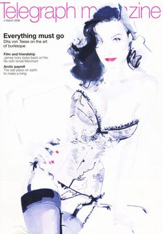 telegraph david downton cover #downton #cover #illustration #fashion #david #magazine