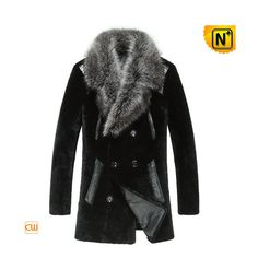 Mens Black Shearling Fur Coat CW868007 #fur #black #coat