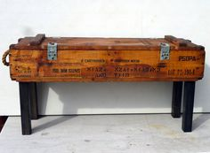 50s AMMUNITION boxbench/table pine upcycle recycle rope handles and storage OOAK #recycle #ammunition #box #table #furniture
