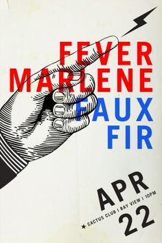 Fever Marlene + Faux Fir @ Cactus Club Poster Design By Rev Pop #milwaukee #pop #design #starr #poster #rev #scott #cactus #band #club