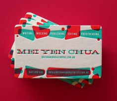 Mei Yen Chua | Lovely Stationery #emboss #business #card #letterpress #stock #overprint #overlay