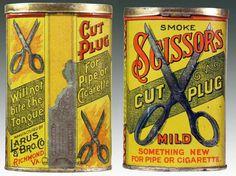scissors cut plug mild tin #victorian #tin #vintage #tobacco