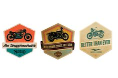 Retro Motorcycle Badges #race #moto #bike #racer #logo #font #typography #light #cool #retro #vintage #hipster #badge #caferacer #motorcycle