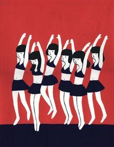 せーのっ(2008.08) #illustration #girls #black #ballerinas