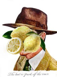 Lemon Head, watercolor, 2015 #watercolor #lettering #vintage #type #painting