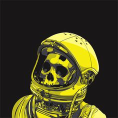 Death Astro by ~cranenoir on deviantART #skeleton #astronaut #fi #sci #space #illustration #skull #death