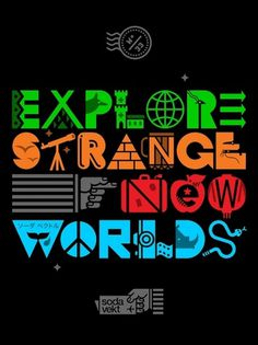 Explore Strange New Worlds - sodavekt #iconography #ipad #poscard #sodavekt #iphone #illustration #wander #typography