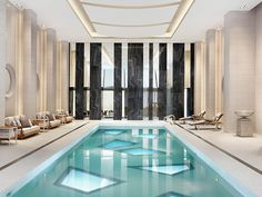 CJWHO ™ (Luxury White Indoor Pool by Munge Leung) #white #design #interiors #pool #photography #luxury