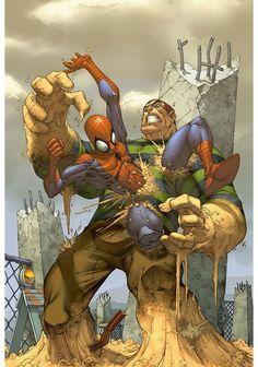 Spiderman vs Sandman an art comics