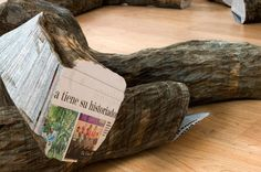 CJWHO ™ (tree trunks made of densely stacked newspapers by...) #tree #installation #crafts #design #newspaper #wood #art