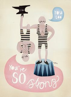 Michelle Carlslund The strongest Men in the World #handlettering #circus #danish #original #men #vintage #poster #cute