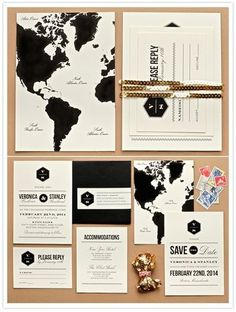 Travel wedding invite #invite #white #travel #black #map #and #wedding