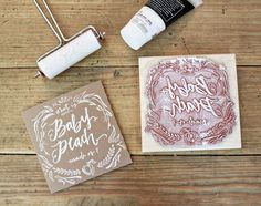 Baby Gender Reveal DVD Covers #lettering #print #printing #homemade #linocut #typography