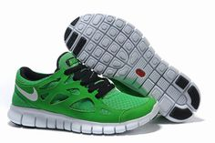 Nike Free Run 2 Green Black White-Mens #shoes