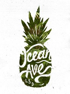Ocean Ave Lettering and Design Pineapple Logo