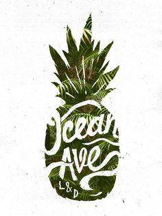 Ocean Ave Lettering and Design Pineapple Logo