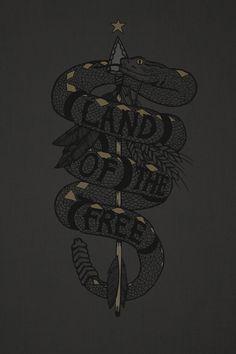 Land of the free #Snake #Illustration