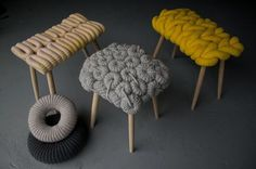 Concept Knitted Stools Minimalist #interior #design #decor #home #furniture #architecture