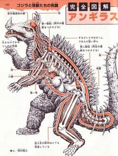 Kaiju anatomical drawings ~ Pink Tentacle #movie #anguirus #japanese #anatomical #monster