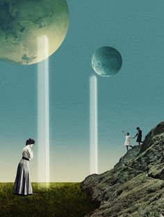 Julien Pacaud / Gods / colagene.com #surrealistic #fantasy #sky #vinatge #illustration #religion #galaxy #god #collage #moon