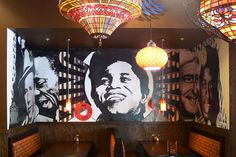 Mellow Mushroom Small Mural #mushroom #mural #painting #records #pasting #cincinnati #king #mellow #wheat