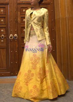 Vasansi Yellow Raw Silk Lehengas