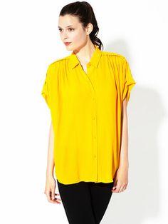 Diane von Furstenberg Karin Pleated Crepe Blouse #blouse #yellow