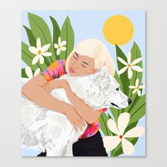 All You Need Is Love And A Dog #illustration #pets Canvas Print #animal #digitalpainting #women #drawing #fineart #canvas