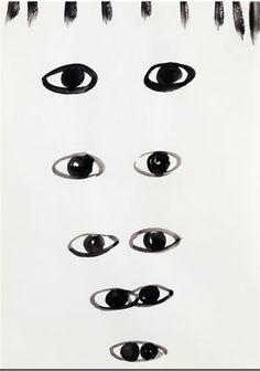 aromo #white #eyes #black #contemporary #silvia #bchli #art #augen #drawing