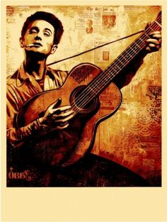 Woody-Guthrie-canvas-print - OBEY GIANT #music #illustration #urban