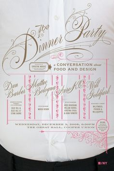 Mucca | Work | AIGA Dinner Party #invitation #script #poster #typography
