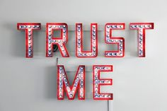 Artlog / Steve Lambert, Trust Me #sign #design #art #lighting #trust #typography
