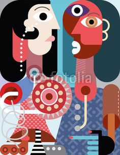 A man with beard and a woman with roller skate - contemporary abstract art vector illustration.