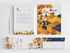 Square Orange Pattern Stationery. Download here: http://graphicriver.net/item/square-orange-pattern-stationery/8137984?ref=abradesign #modern #orange #minimal #stationery #template