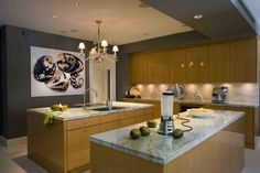 Kitchen with painting wall decor