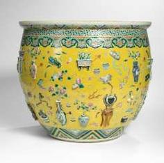 Large Cachepot with raised emblem antique decor on the outside and fish pond-decorative interior #Sets #Tea sets #Porcelain sets #Antique plates #Plates #Wall plates #Figures #Porcelain figurines #porcelain