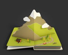 3D Rendered Pop-Up Pages of Beautiful Landscapes by Anna Paschenko #mountain #pop #cgi #landscape #illustration #up #3d #green